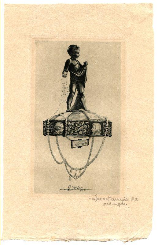 "SIGNUM-SHOP: Bastanier, O-Radierung, ""Ex Libris Fanny Hahn"",18,5 x 11 cm auf Büttenpapier c"