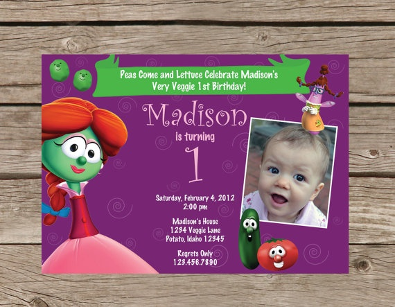 Printable Veggie Tales Birthday Invitation By Taowithlove