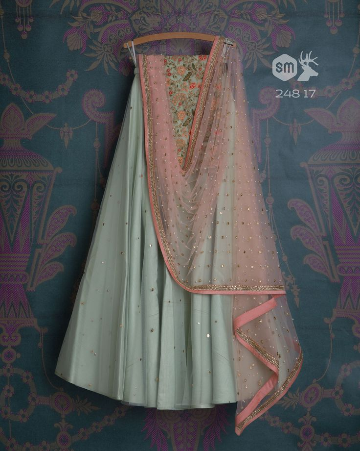 SMF LEH 248 17 | Grey teal badla dupatta with baby pink moti miroor dupatta and floral threadwork matching blouse (SOLD)