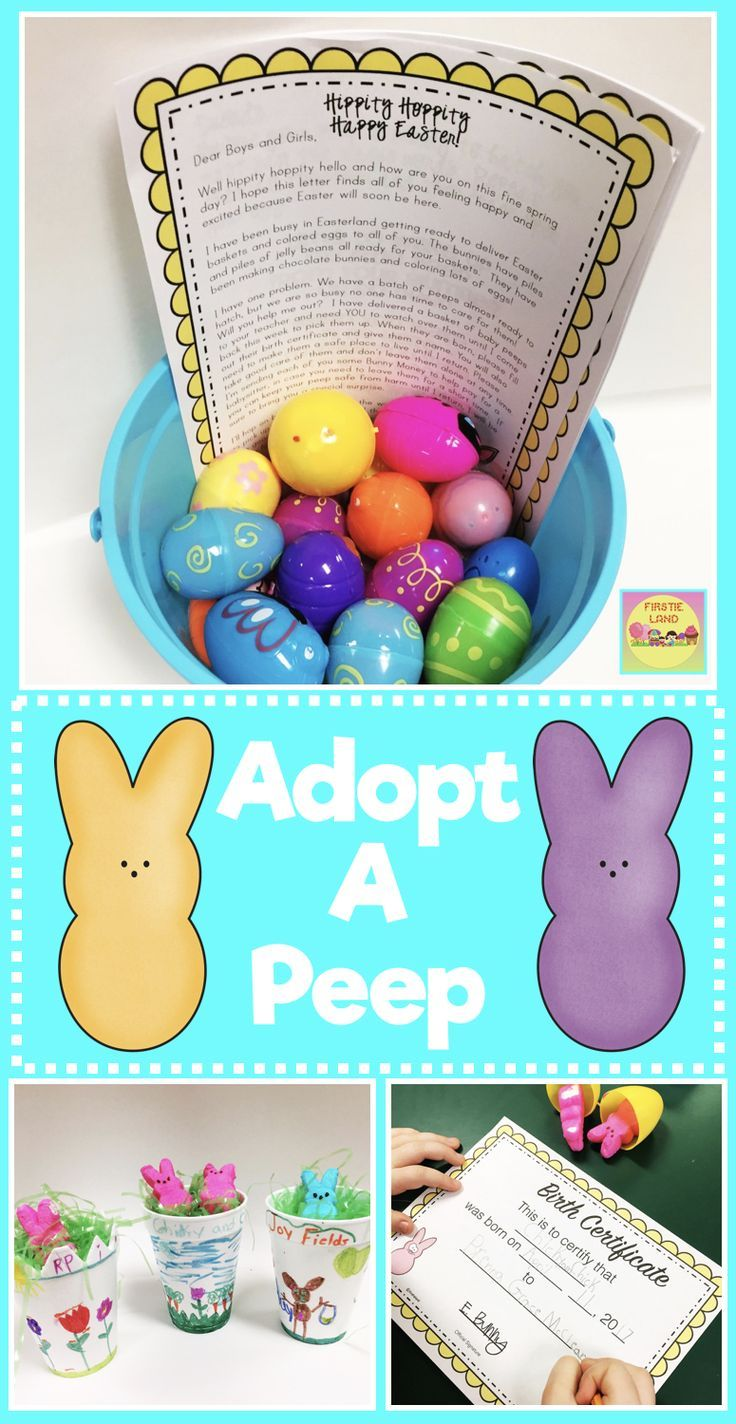 Easter Peep Activities for Kids - Adopt A Peep Easter writing activity is a fun activity for your students that includes a printable birth certificate, Peep Baby Book, writing templates and letter from the Easter Bunny.