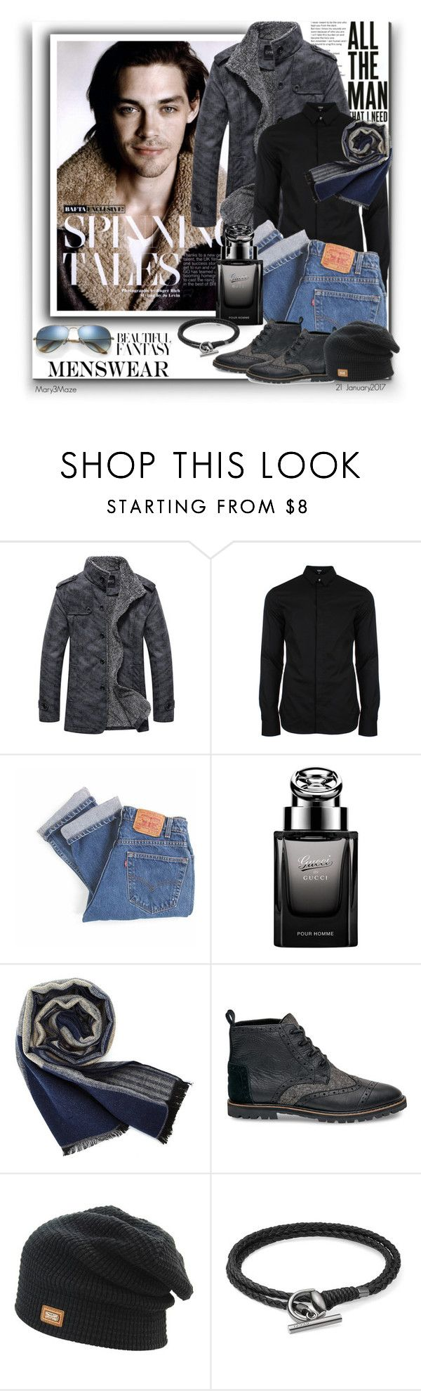 """Mens Fashion - Tom Payne"" by octobermaze ❤ liked on Polyvore featuring Versus, Levi's, Gucci, Ray-Ban, men's fashion and menswear"