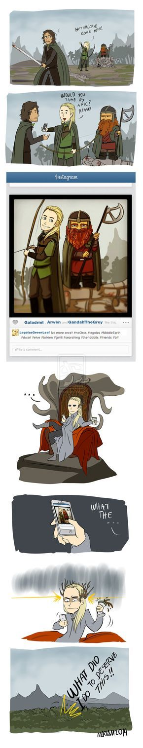 """The Best Friends by eliort.deviantart.com on @deviantART - """"Lord of the Rings"""" silliness, featuring Aragorn, Legolas, Gimli, and Thranduil. To fully get what's going on, you'd need to know that Thranduil (Legolas' father) and Gloin (Gimli's father) have some bad blood that's laid out in detail in """"The Hobbit"""". ;)"""