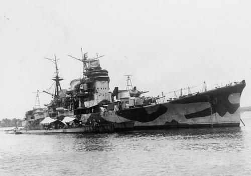 Japanese cruiser Myōkō after surrender of Singapore to British and French. The cruiser was badly damaged and soon scuttled. Next to the cruiser are submarines I-501 (former U-181) and I-502 (former U-862), part of the Monsun Gruppe. Submarines were taken over by the Japanese, but had a relatively quiet career in IJN.- Felt that this was an interesting photo, but I don't know which one is I-501 and which I-502