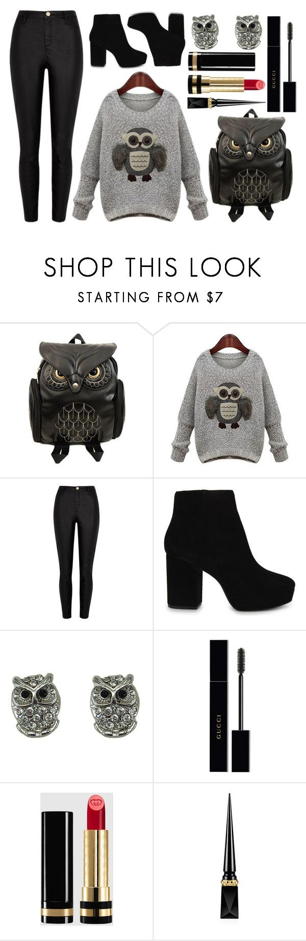 """Owl Backpack"" by princess13inred ❤ liked on Polyvore featuring River Island, ALDO, Gucci and Christian Louboutin"