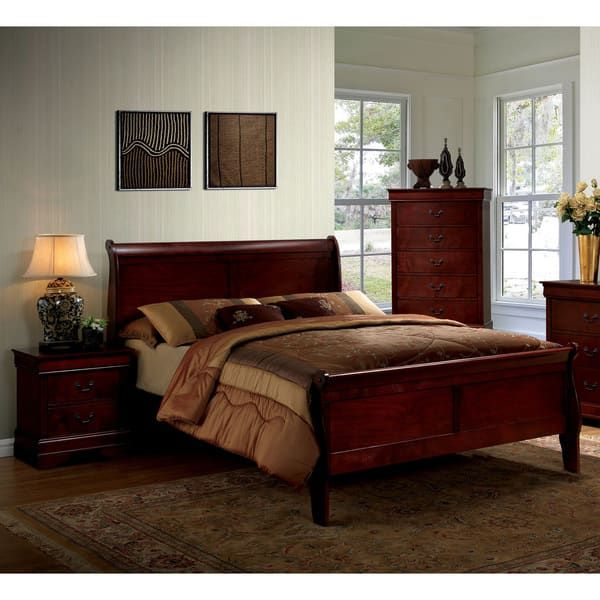 Furniture of America Mayday II Paneled Cherry Sleigh Bed