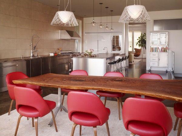 Küchen Aus Edelstahl Holz Esstisch Rosa Stühle