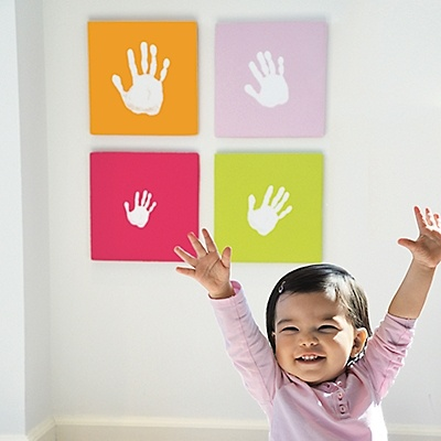 Take handprint art to a whole new level with this creative wall art kit! It includes four, vivid, color-coordinated canvases, each primed and ready to hold a perfect handprint.