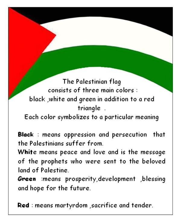 The meaning of the colors of the Palestinian flag.