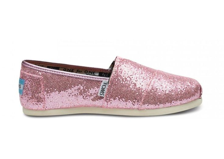 Cheap Youth Pink Glitters Toms Shoe