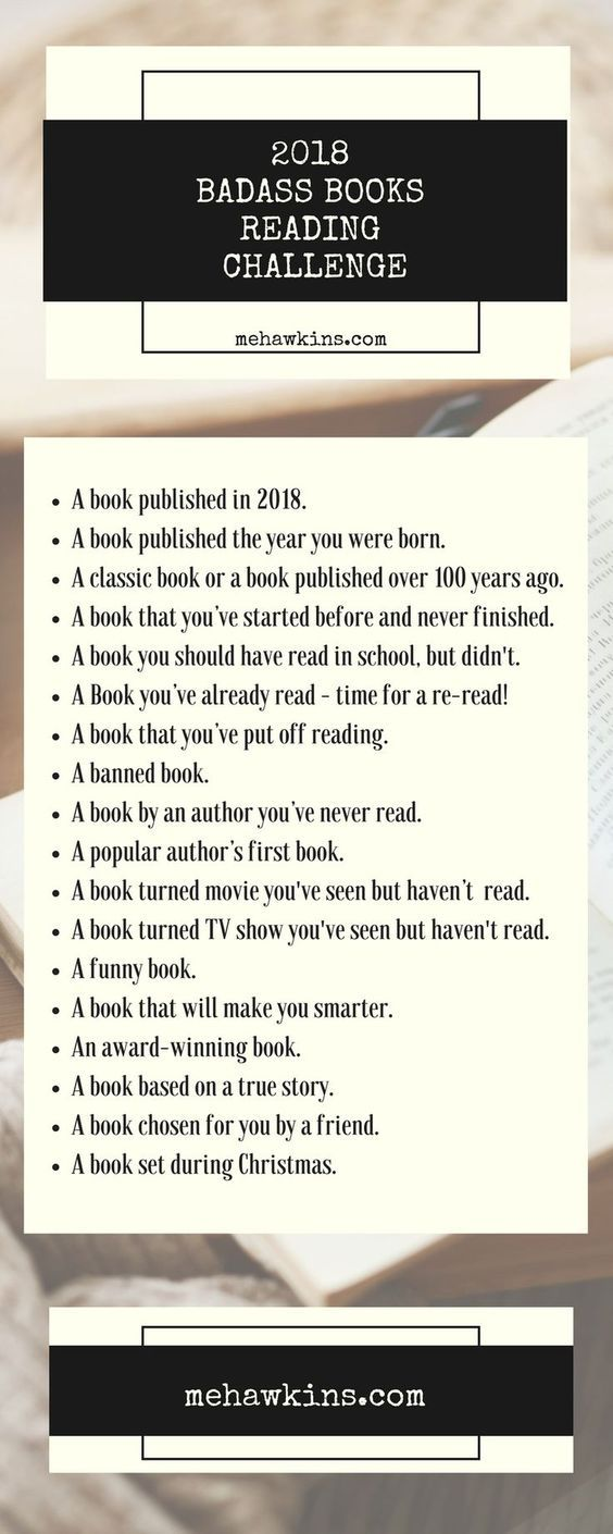 Follow along with this fun, interesting, badass reading challenge and keep yourself out of the dreaded reading slump in 2018! mehawkins.com
