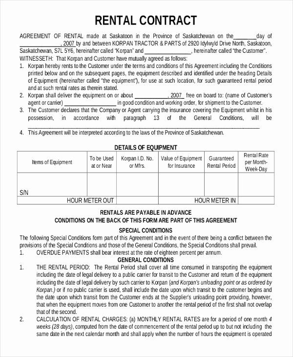 Equipment Rental Contract Template Lovely 15 Rental Contract Templates Pdf Docs Word Rental Agreement Templates Contract Template Lease Agreement