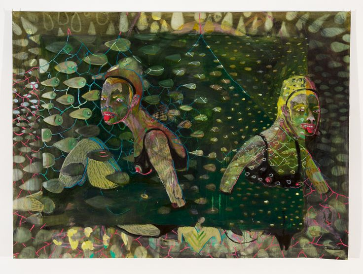Marlene Steyn, 'Sunken synced sisters' (2013-2015), Oil, plasticine and mixed media on unstretched linen, 142 x 194cm