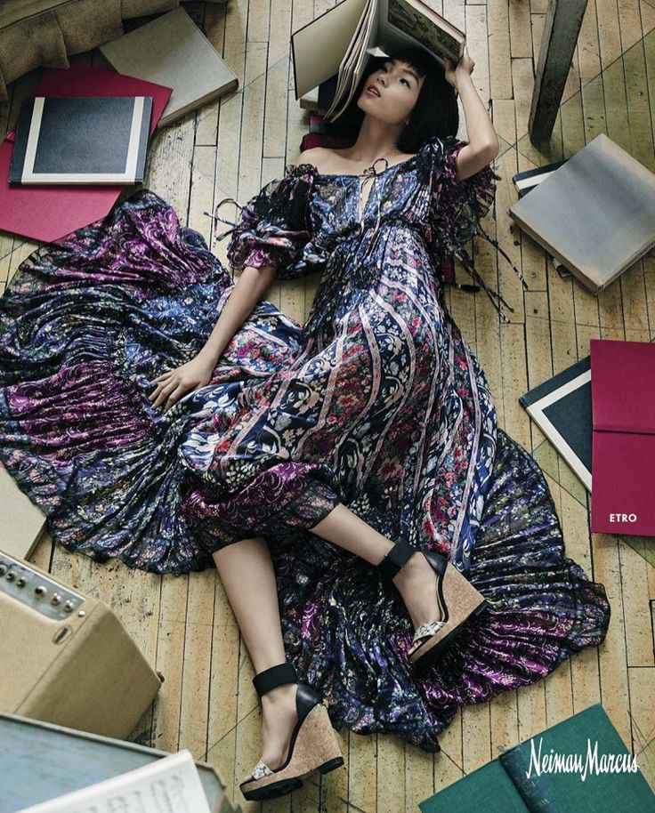 For Neiman Marcus' spring 2016 'Art of Fashion' campaign, the luxury retailer enlisted two dancers to help choreograph the frenetic images. Xiao Wen Ju poses for photographer Yvan Fabing in the colorful advertisements featuring the designs of Michael Kors, Dolce & Gabbana, Saint Laurent and other top brands. In one shot, the Chinese model can be seen posing with a hula hoop, while another has her splattering a rainbow of paints against a canvas. Free-spirited yet elegant, Xiao embodies the…