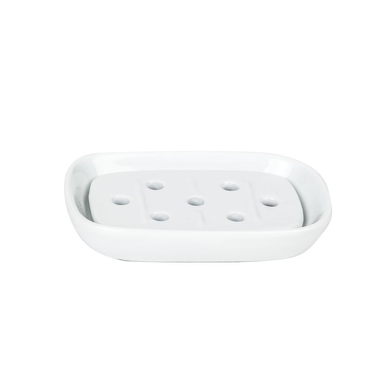 Decor Walther Porcelain Soap Dish with Porcelain Insert, White
