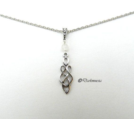 Collier argenté,pendentif, noeuds, entrelacs, perle jade blanc, celtique, pagan, elfique, médieval, viking, nordique, elfe, cadeau noël