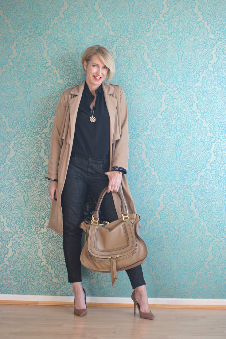 A fashion Blog for women over 40 and mature women http://www.glamupyourlifestyle.com/  Trenchcoat: Zara Blouse: Other Stories Jeans: Selfnation Shoes: Boss Bag: Chloé Marcie