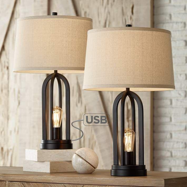 Marcel Black Led Usb Night Light Table Lamps Set Of 2 35k12 Lamps Plus Farmhouse Table Lamps Bedroom Lamp Sets Table Lamp Sets