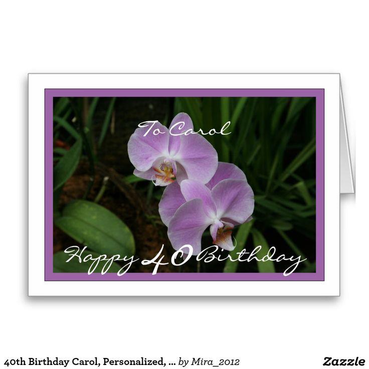 40th Birthday Carol, Personalized, Purple Orchids