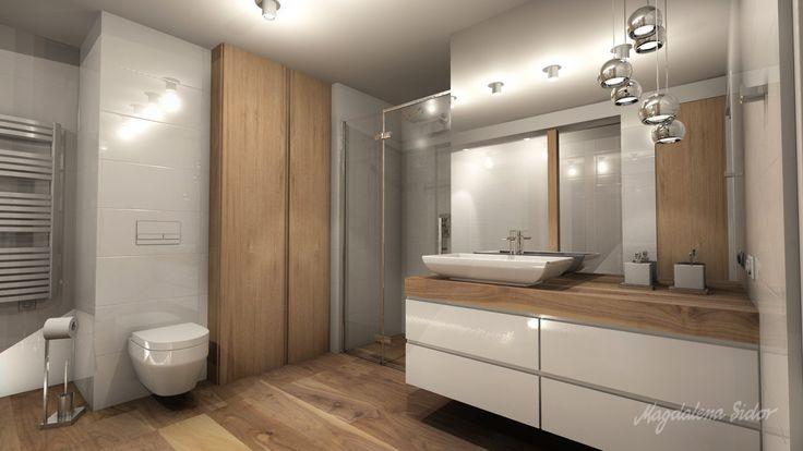 Znalezione obrazy dla zapytania łazienka w bieli i drewnie
