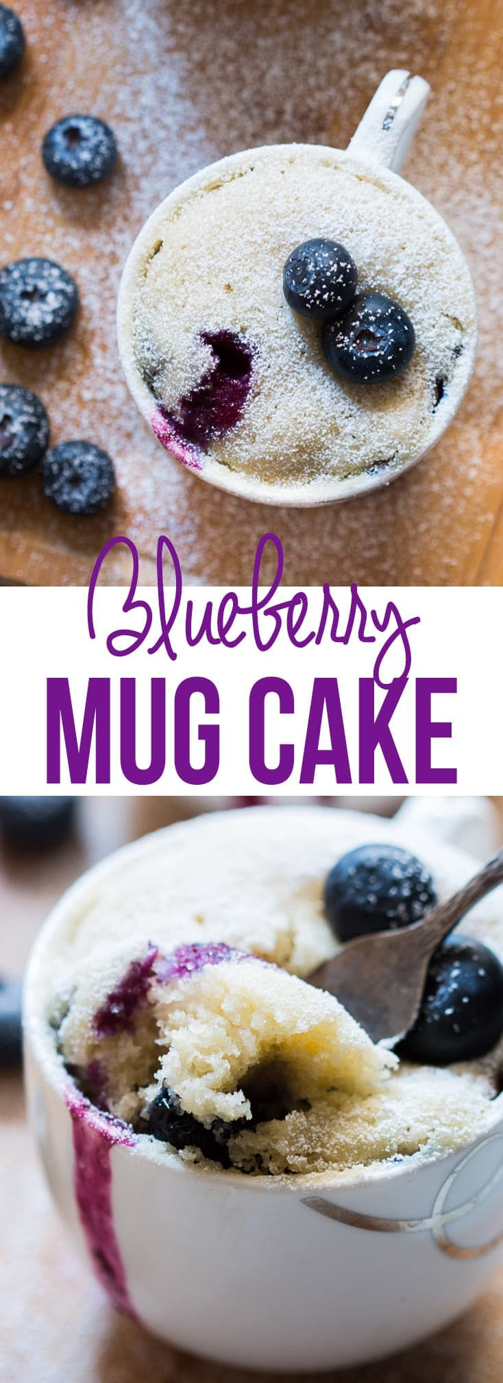 Recipe for quick eggless blueberry mug cake ready in under two minutes in a microwave. No eggs, no oven required. Only 270 calories per serving.