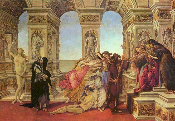 Botticelli, La Calunnia  La Calunnia è un dipinto a tempera su tavola (62x91 cm) di Sandro Botticelli, databile al 1496 e conservato nella Galleria degli Uffizi di Firenze.