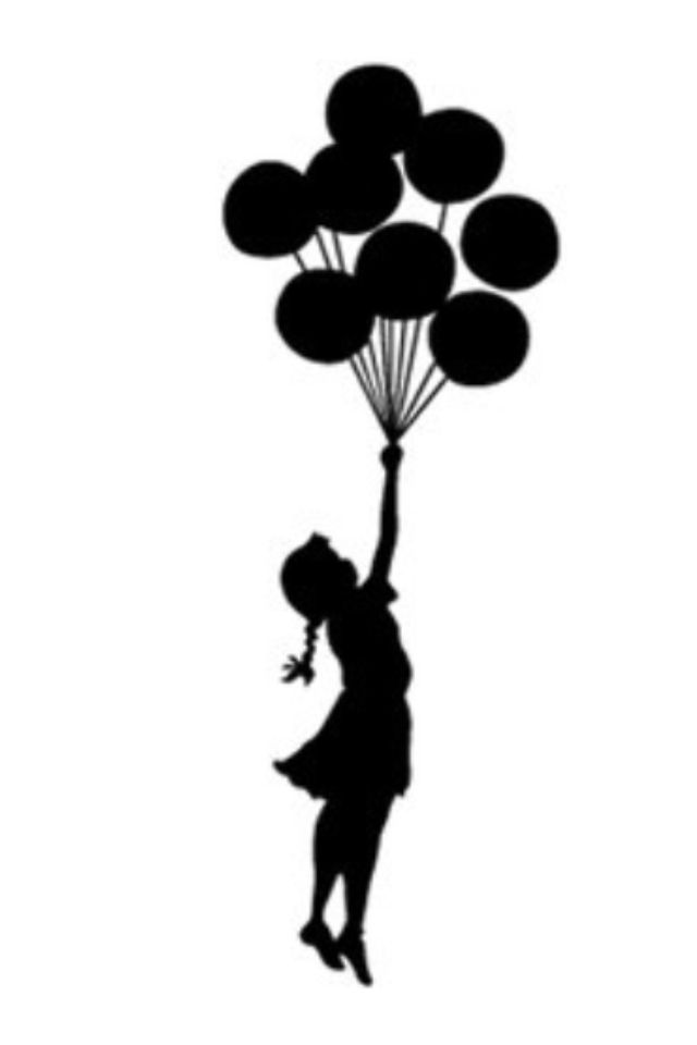 Girl taking flight with a bouquet of balloons