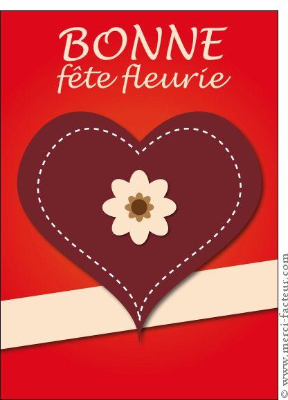 Carte Bonne fête fleurie avec un coeur pour envoyer par La Poste, sur Merci-Facteur !