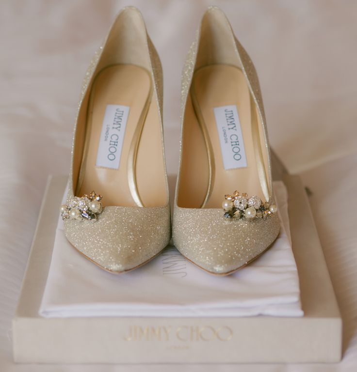 Adore these glittery gold wedding heels from Jimmy Choo (Clane Gessel Photography)