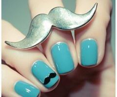 MustacheNails Art, Cute Nails, Nailart, Nailsart, Whiskers, Bluenails, Rings, Mustaches Nails, Blue Nails