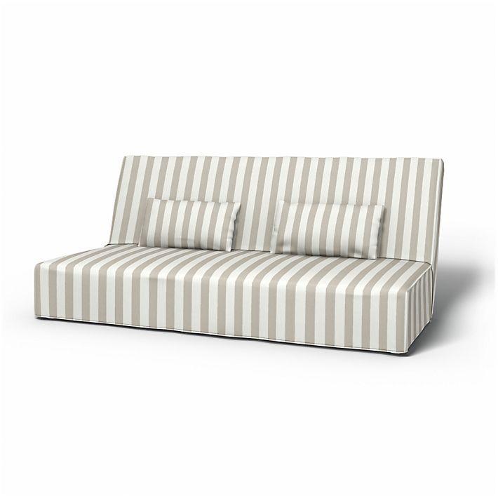 Beddinge, Sofabezüge, Bettsofa, Regular Fit bodenlang diesen Stoff anwenden Stockholm Stripe Sand Beige