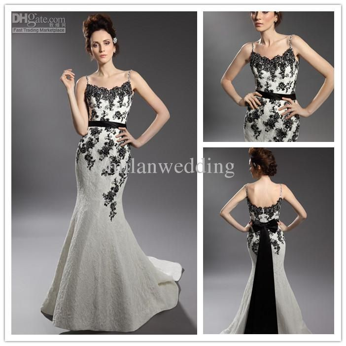 Black White Embroidered Wedding Dress Lace Embroidery Spaghetti Strap Mermaid Dresses Y110