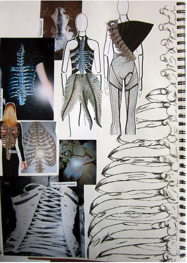 Fashion Sketchbook with skeletal theme & interpretive designs; fashion design process; fashion portfolio