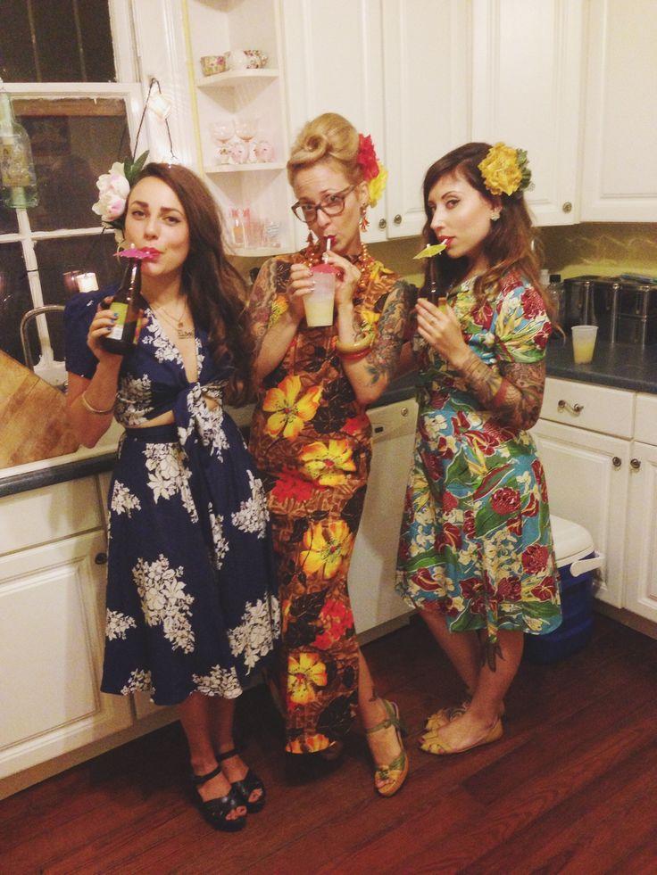The divas had a tiki party staring the Sweetie Dress in Hawaiian Charm and Carole Tie Top and Skirt in Blue Hawaii! #trashydiva #trashydivahawaiiancharm #trashydivabluehawaii