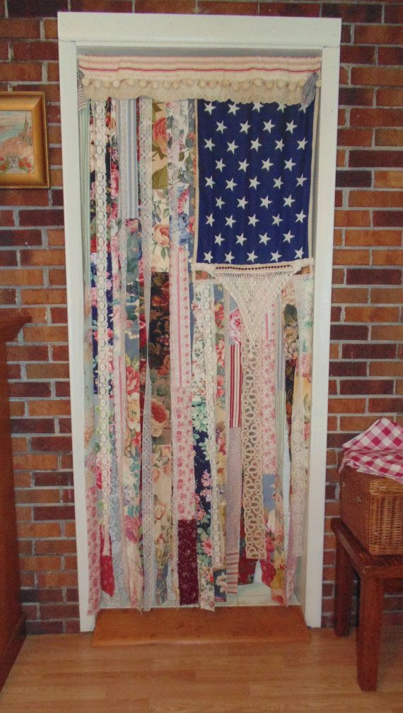 Shabby Chic American Flag Door Curtain Wall Decor LARGE My Inner Hippie Door Curtains