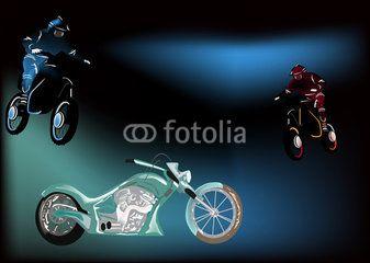 motorcycles on dark background illustration
