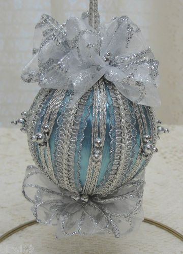 Fluffy bows and silver beads make this ornament so pretty.