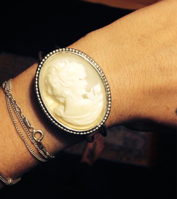 Estee Lauder Locket Cuff Style  Handmade Bracelet  by PastFunk on Etsy