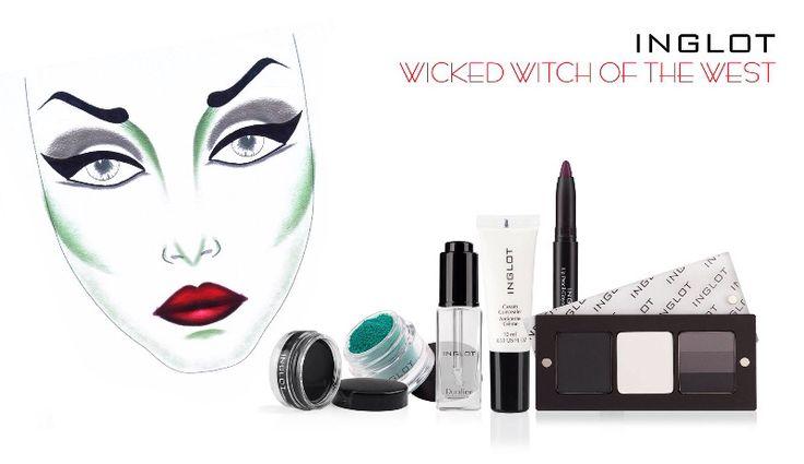 Halloween Witch Look de INGLOT centrándote en el maquillaje dramático de los ojos con sombras freedom system #391, #318, #120 R, delineador en gel #77, Body Pigment # 153 y  Duraline. Pide tu cita de maquiilaje Halloween en cualquiera de las tiendas INGLOT. ¡Diviértete!