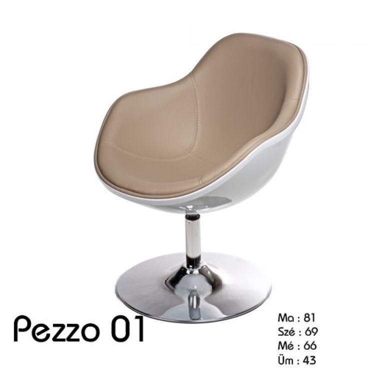 Pezzo klub fotel:      Kiváló minőségű anyagokból készült Pezzo szék.     Ülőfelülete műbőrből, váza és talpa krómozott acélból készült.     Ideális nappaliba, étkezőbe, klubokba és bárokba.  Méret:      Magasság : 81 cm     Szélesség: 69 cm     Mélység : 66 cm     Ülés magasság: 43 cm     Kartámasz magasság : 62