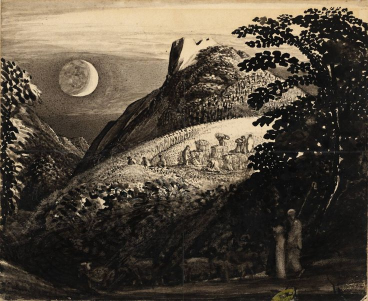 I always found it useful to look at drawings / illustrations when I start to suffer from a very bad case of 'writer's block' ( moon , nature , birds or anything folklore ) . If I'm going to be away from the comfort of my writing desk I make sure to have a copy of Hans Christian Andersen's fairy tales in my travel bag .    Drawing by Samuel Palmer The Harvest Moon:  'A Pastoral Scene' circa 1831-2 Pen and ink and gouache on card