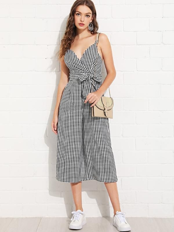e2f2205185 Overlap Front Gingham Cami Jumpsuit with Belt -SheIn(Sheinside ...
