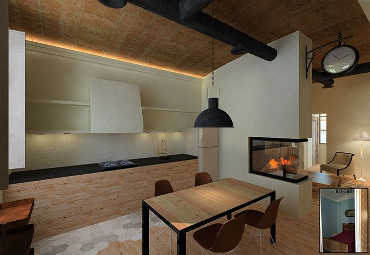 Sustainable Apartment Restoration by The Old Green Corner | Restoration of an old industrial apartment using responsible materials and techniques. Here we see the kitchen connected to the living room with a double sided fireplace.