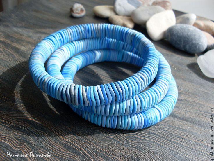 Купить Морской - Браслет из полимерной глины . Авторские браслеты. - голубой, браслет, переход цвета, вода