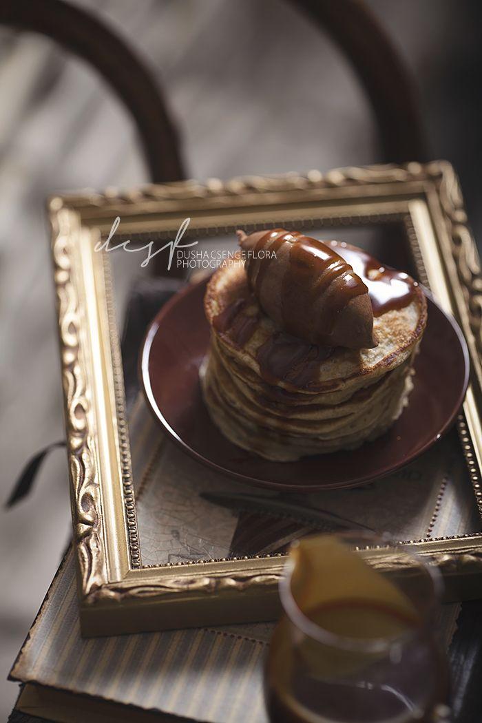 Banana pancakes with milk chocolate chantilly and salted caramel sauce