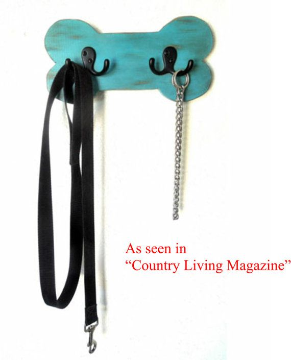 Dog leash Holder, Wood leash holder, Dog leash hook, distressed turquoise, pet lovers gift on Etsy, $21.95