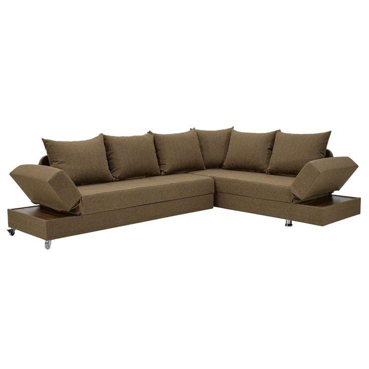 Γωνιακός καναπές - κρεβάτι Roma με ύφασμα καφέ 249x185x82