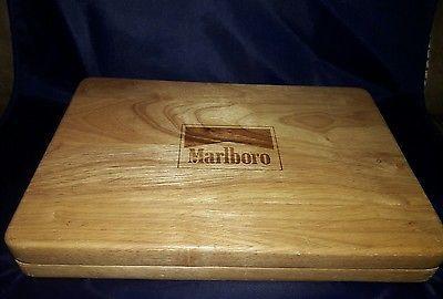 Marlboro Poker Set w/ 2 packs Playing Cards & Chips in Wood White Oak Box New