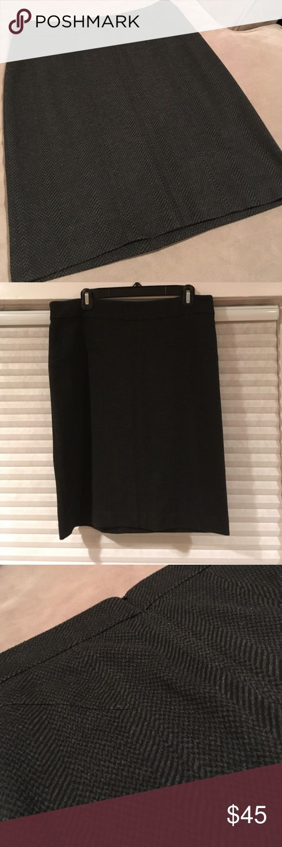 BCBGMAXAZRIA Skirt - Size L - rarely worn! BCBGMAXAZRIA pencil skirt, with a black and gray striped pattern. Size L. Appropriate length from waistband to the bottom is 22 and 1/2 inches. 58% polyester/30% rayon/10% nylon/2% spandex blend. It was rarely worn, and is in pristine condition. BCBGMaxAzria Skirts Pencil