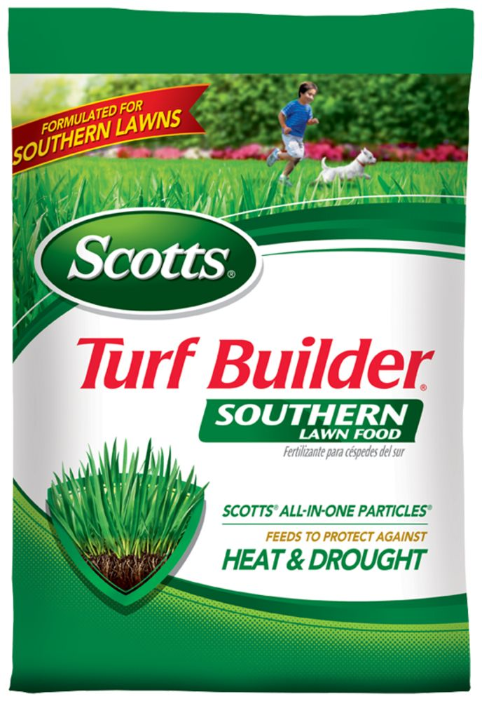 Scotts Southern Turf Builder with Iron specifically formulated for southern  lawns. The fertilizer feeds & strengthens your lawn against heat & drought.