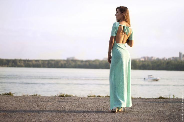 Купить Платье макси с открытой спиной - бирюзовый, платье, платье в пол, открытая спина